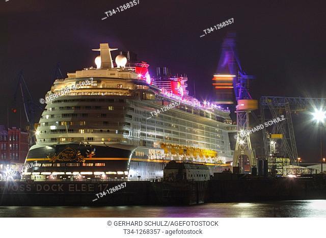 Disney Dream cruise ship in dry dock at Hamburg Harbour, Germany