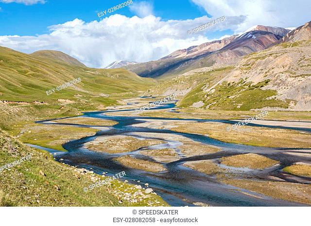 Mountain river Jil-Suu in Tien Shan, Kirgizstan