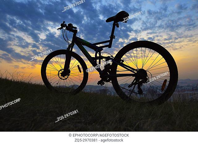 Cycle at sunset, Pune, Maharashtra, India
