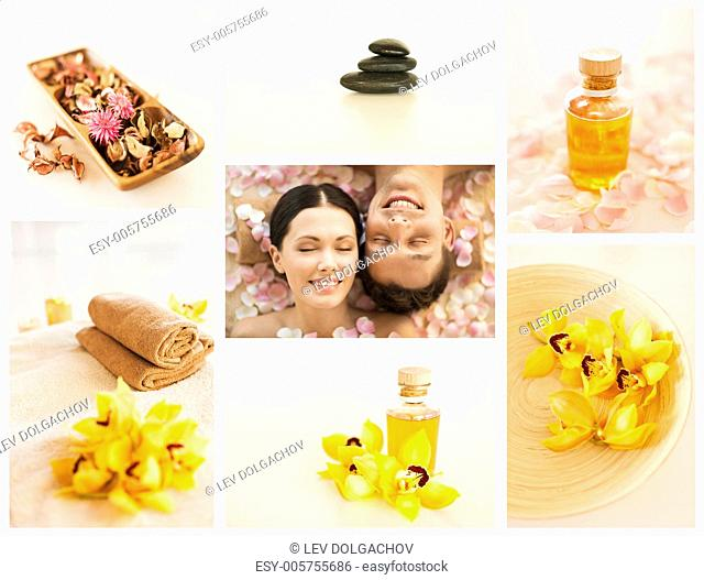 collage with romantic couple in spa and different still life images