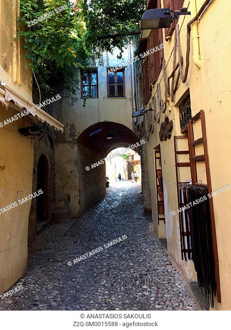 Narrow aisle at old town of Rhodes World Heritage City, UNESCO, Greece