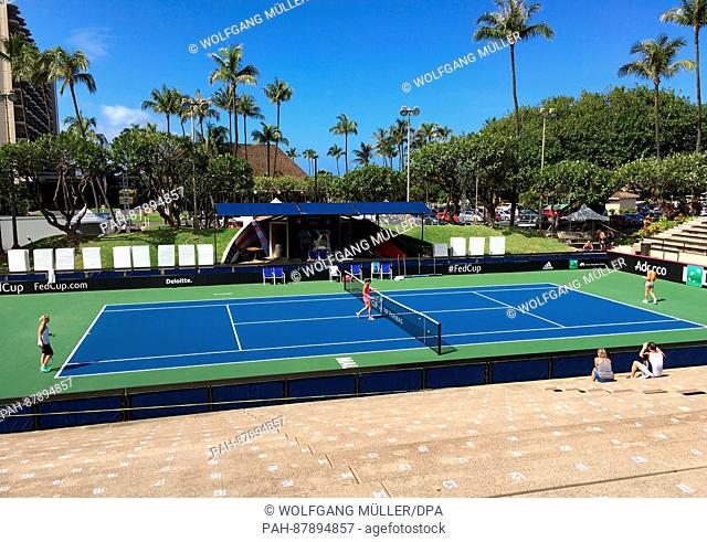 German tennis players Andrea Petkovic and Julia Goerges training with German national coach Barbara Rittner (l) ahead of the Fed-Cup dual with the USA on the...