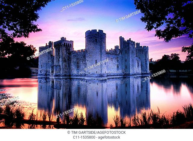 Bodiam Castle, Sussex, England, UK at sunset
