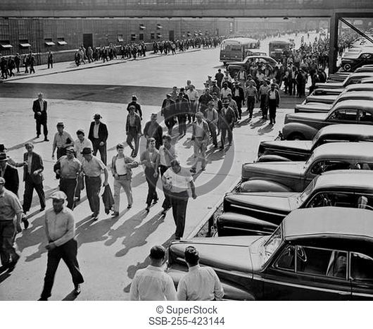 USA, Michigan, Dearborn, Workers leaving Ford Motor Company plant