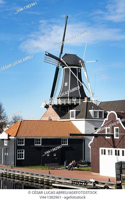 Adriaan windmill, Spaarme river. Haarlem, Netherlands