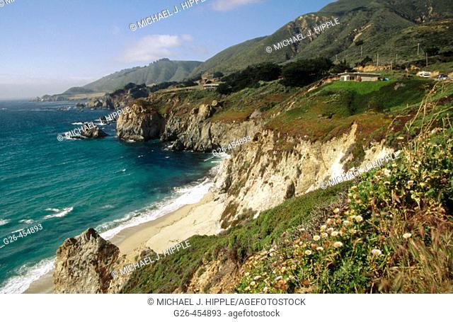Cliff and ocean views. Highway 1. Big Sur. California. USA