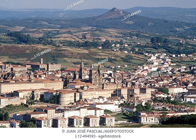Santiago de Compostela with Pico Sagro in background. La Coruña province, Galicia, Spain