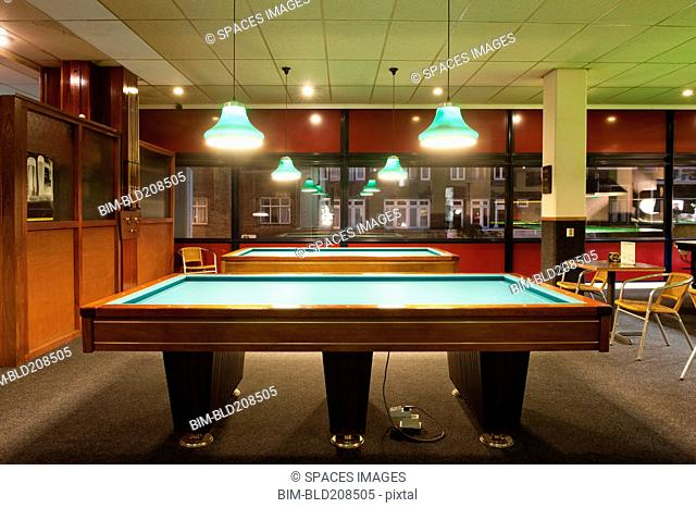 Billiards tables in a bar