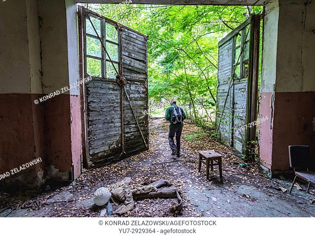 Fire station building in Chernobyl-2 military base, Chernobyl Nuclear Power Plant Zone of Alienation in Ukraine