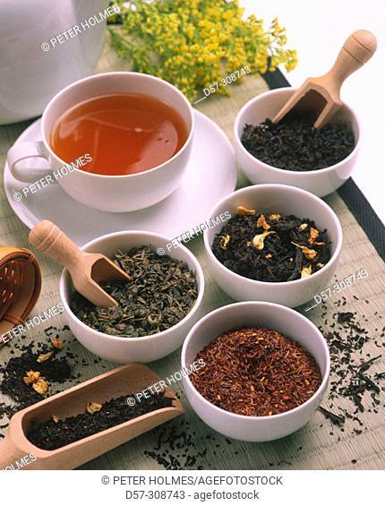 Assorted teas: red tea, Jasmine tea, Green tea, black tea