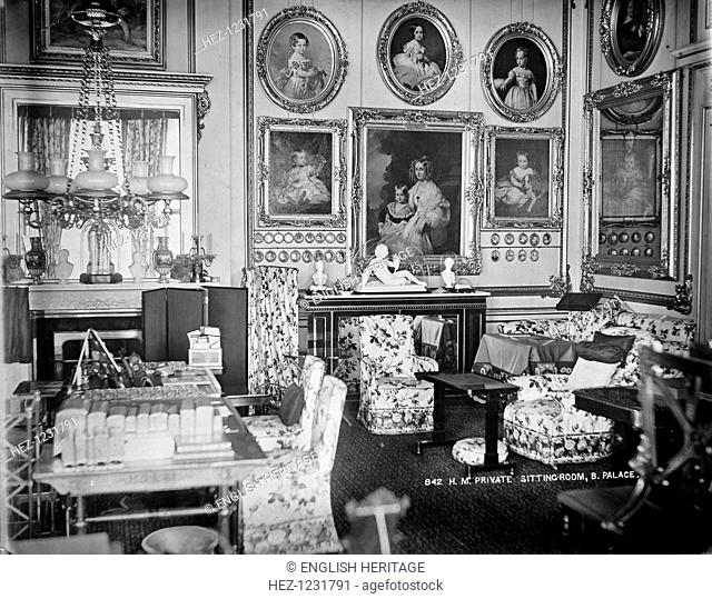 Queen Victoria's private sitting room, Buckingham Palace, London, c1870-c1900. The interior of Queen Victoria's private sitting room at Buckingham Palace