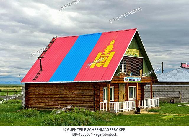 Mongolian national flag, roof painting, grocery store, Dashinchilen, Bulgan Province, Mongolia