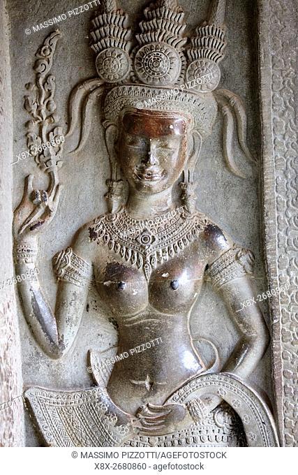 Bar relief at Angkor Wat temple, Siem Reap, Cambodia