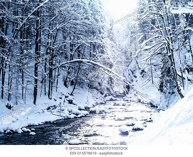 winter landscape in breitachklamm bavaria alps