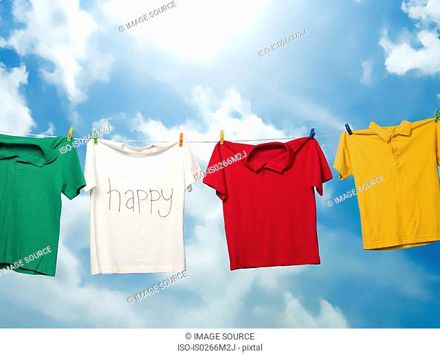 Tshirts hanging on a clothesline
