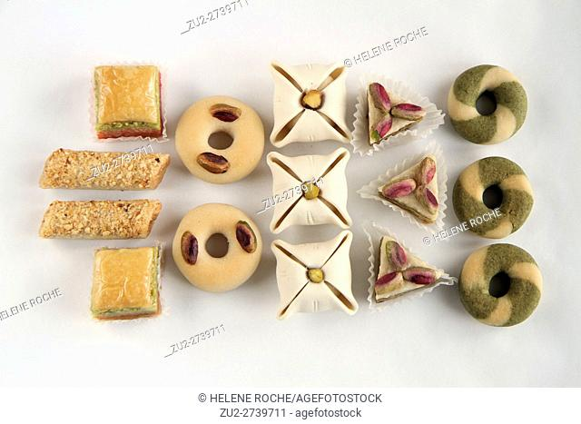 Selection of oriental cakes