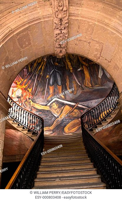 Stairs in Government Palace Morelia Mexico  Facing Mural by Alfredo Zalce of War of Independence in Mexico when Mexican Peasant, later known as the Turtle