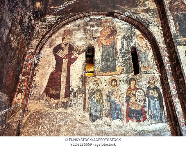 Picture & image of Vardzia medieval cave Church of the Dormition interior secco paintings, part of the cave city and monastery of Vardzia, Erusheti Mountain