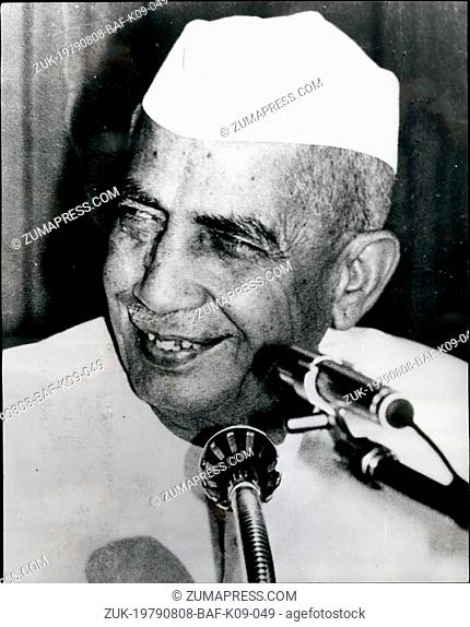 Aug. 08, 1979 - India's New Prime Minister Charan Singh: Photo shows Mr. Chawdhary Charan Singh, who was ---- in as the new Indian Prime Minister on July 28th...