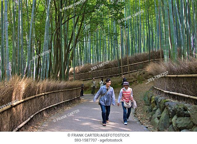 People walking through a bamboo forest in the Sagano area of Kyoto