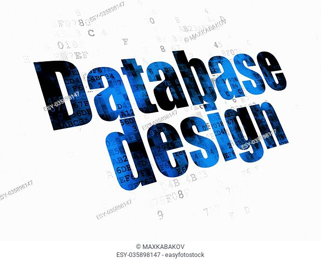 Database concept: Database Design on Digital background