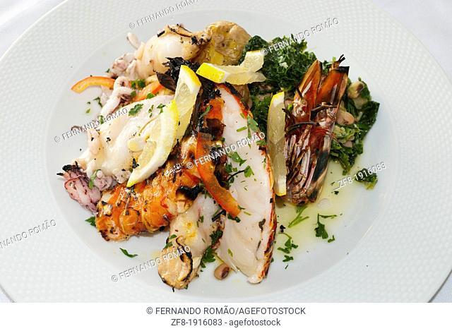 Seafood meal at a restaurant, Miranda do Corvo-Portugal