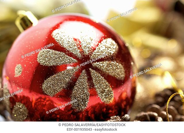 Christmas decoration balls with glitter gold red