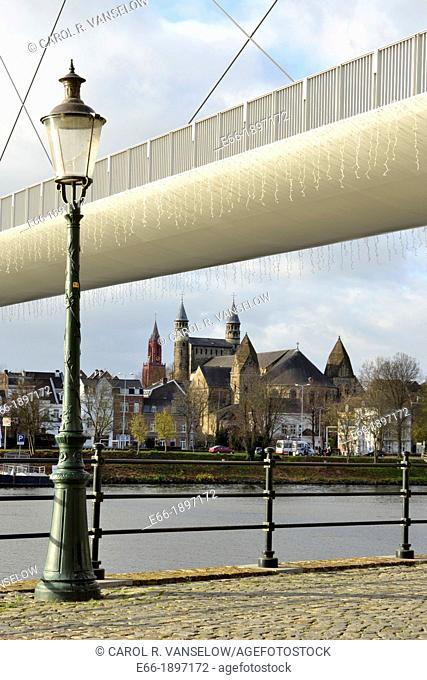 Hoge Brug the high bridge over the river Maas in Maastricht  The bridge, designed by Belgian architect René Greisch, was built in 2003  Taken in morning with...