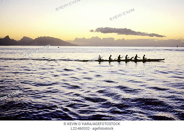 Pirogue at sunset. Tahiti Island. the Society Islands. French Polynesia. Pacific