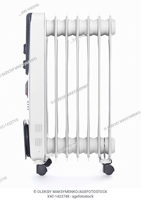 Oil filled air heater  Radiator isolated on white background