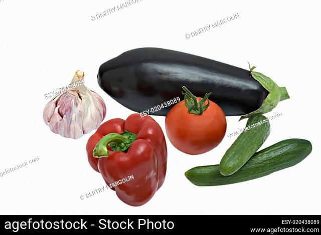 Eggplant, sweet pepper, garlic, cucumber and tomato