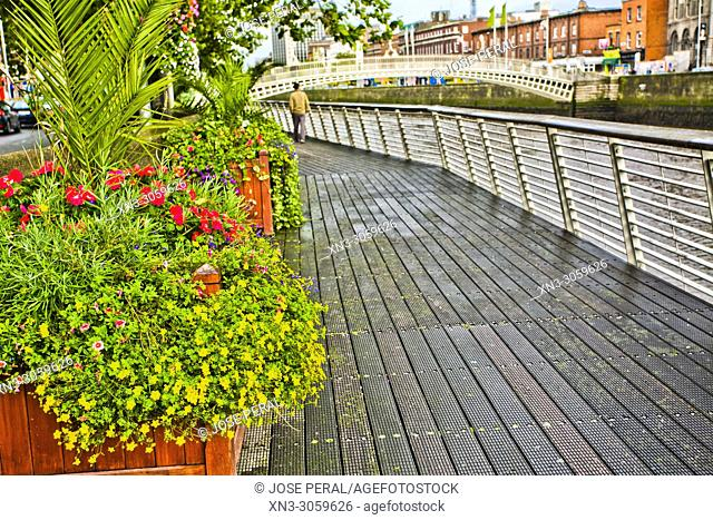 On background Ha'penny Bridge, Liffey Bridge, River Liffe, Dublin city, province of Leinster, Ireland, Europe