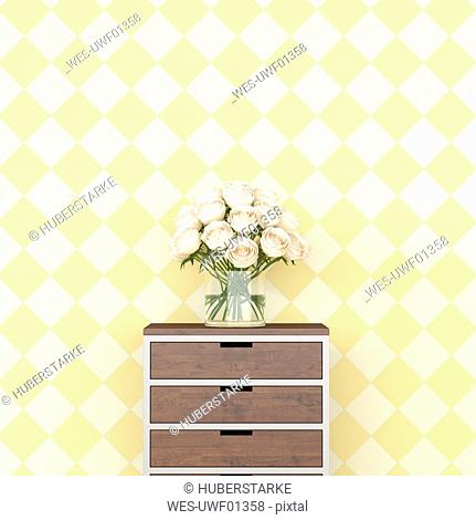 Bunch of flowers on chest of drawers in front of checkered pattern wallpaper, 3d rendering