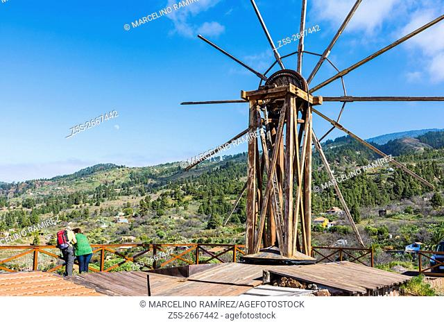 Restored windmill used for grinding gofio. Las Tricias, Garafía, La Palma, Tenerife, Canary Islands, Spain, Europe