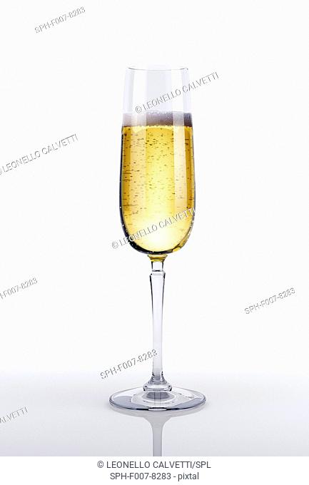 Glass of champagne, computer artwork
