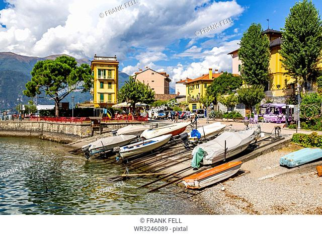 View of boats in harbour in Vezio, Province of Como, Lake Como, Lombardy, Italian Lakes, Italy, Europe