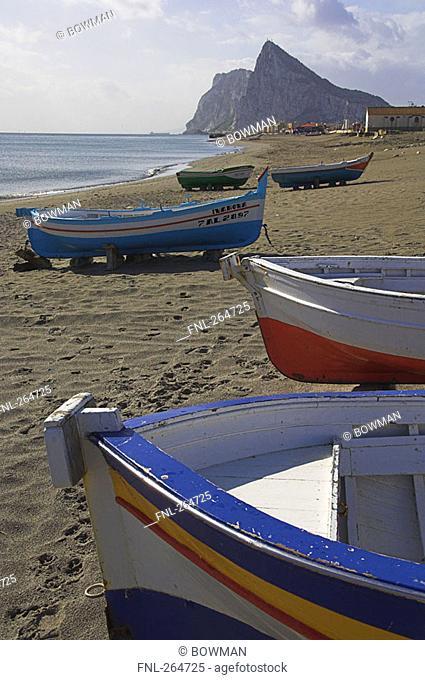 Fishing boat moored at beach, Rock Of Gibraltar, Gibraltar, Spain