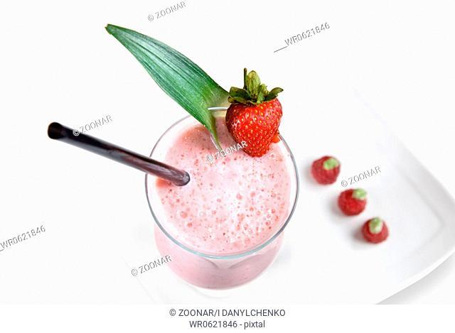 strawberry milkshake isolated on white