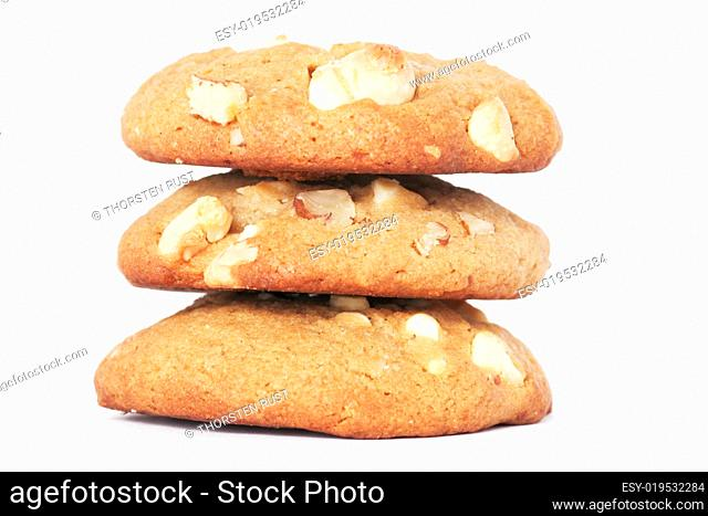 Three Cookie Biscuits With White Chocola