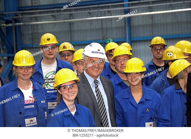German Foreign Minister, Vice-Chancellor and SPD Chancellor Candidate Frank-Walter Steinmeier during a visit to the Meyer-Werft shipyard between trainees