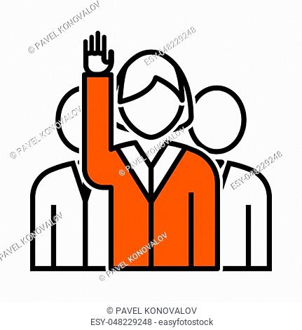 Voting Lady With Men Behind Icon. Thin Line With Orange Fill Design. Vector Illustration