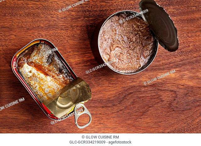 High angle view of canned fish
