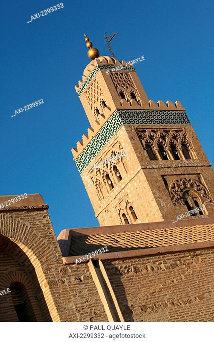 Morocco, largest mosque in Marrakesh; Marrakech, Minaret of Koutoubia Mosque