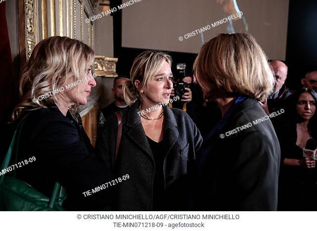 Clare Peploe, Valeria Golino, Valeria Bruni Tedeschi attend at the evening in memory of Bernardo Bertolucci at the Argentina Theatre in Rome, ITALY-06-12-2018