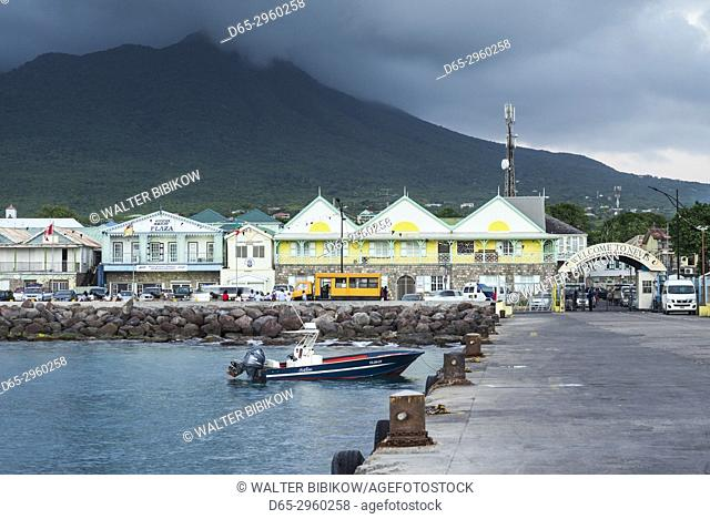 St. Kitts and Nevis, Nevis, Charlestown, waterfront buildings, dusk