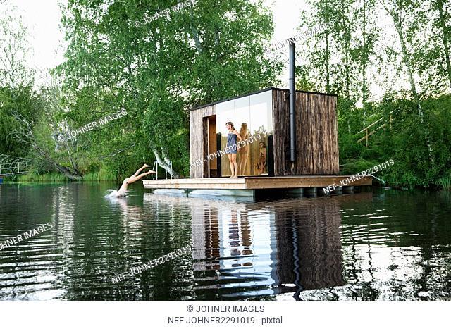 Sauna at lake