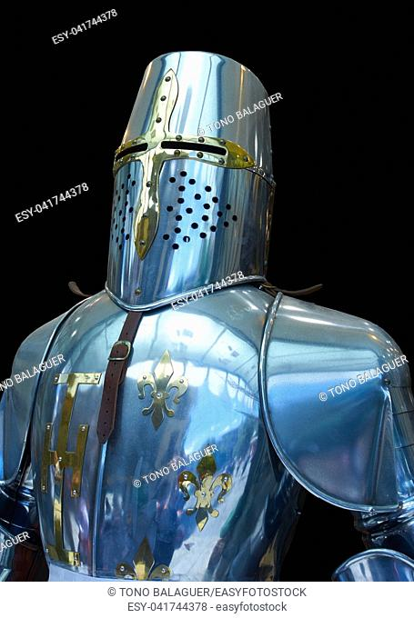 Knight steel armor replica in Toledo Spain