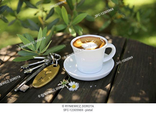 Coffee in the garden in Tuscany
