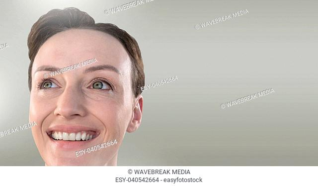Businesswoman smiling with short hair
