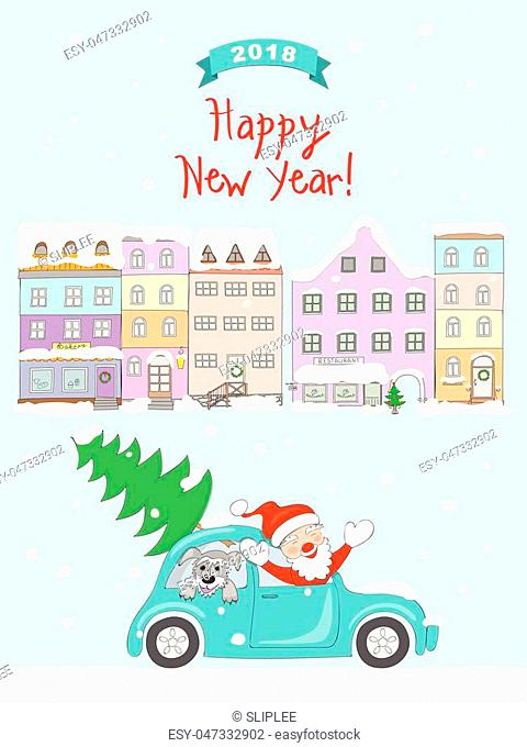 New year 2018 card with cartoon santa claus and dog traveling in the retro auto and text Happy New Year on the snow and christmas city background
